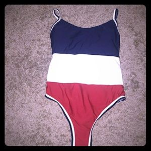 American Flag red, white & blue bathing suit